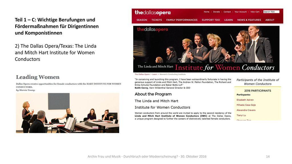 Teil 1 – C: Wichtige Berufungen und Fördermaßnahmen für Dirigentinnen und Komponistinnen