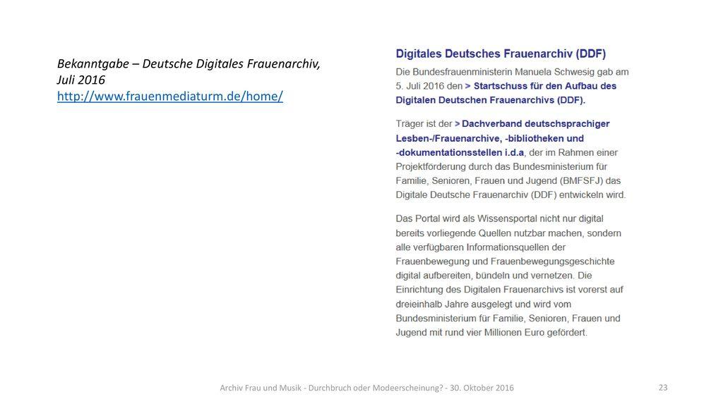 Bekanntgabe – Deutsche Digitales Frauenarchiv, Juli 2016