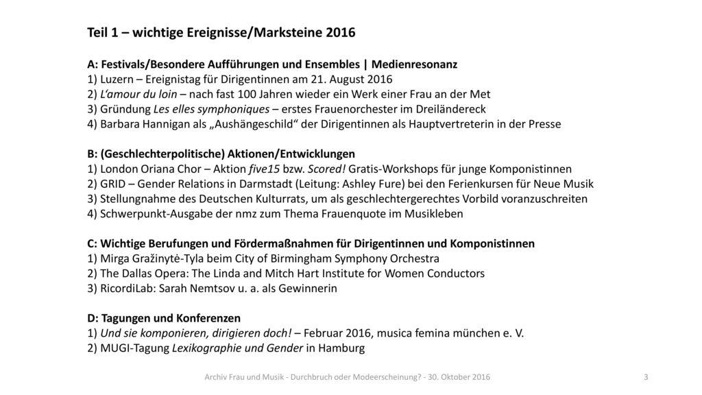 Teil 1 – wichtige Ereignisse/Marksteine 2016