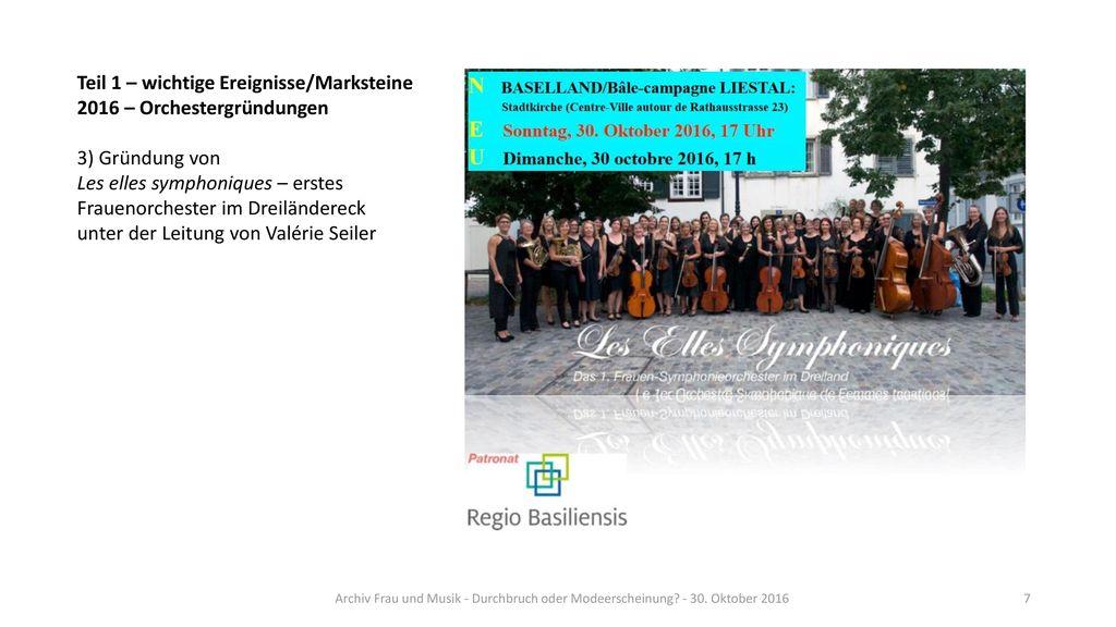 Teil 1 – wichtige Ereignisse/Marksteine 2016 – Orchestergründungen