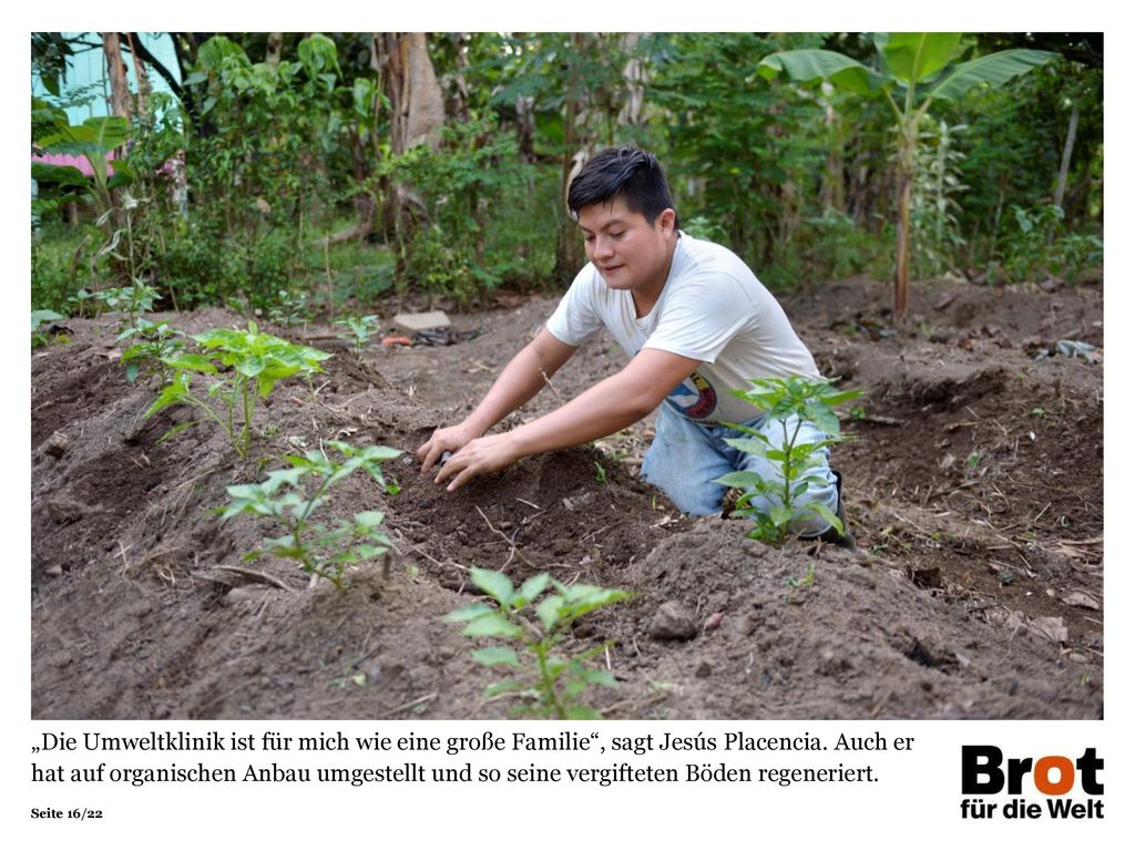 """""""Die Umweltklinik ist für mich wie eine große Familie , sagt Jesús Placencia. Auch er hat auf organischen Anbau umgestellt und so seine vergifteten Böden regeneriert."""