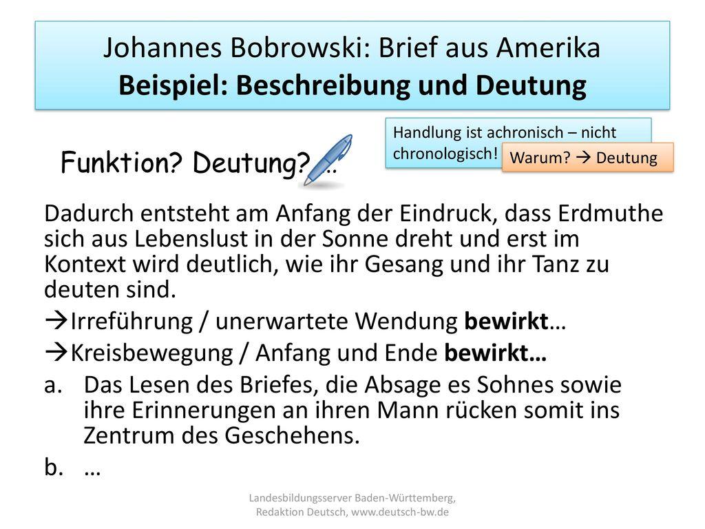Johannes Bobrowski: Brief aus Amerika Beispiel: Beschreibung und Deutung