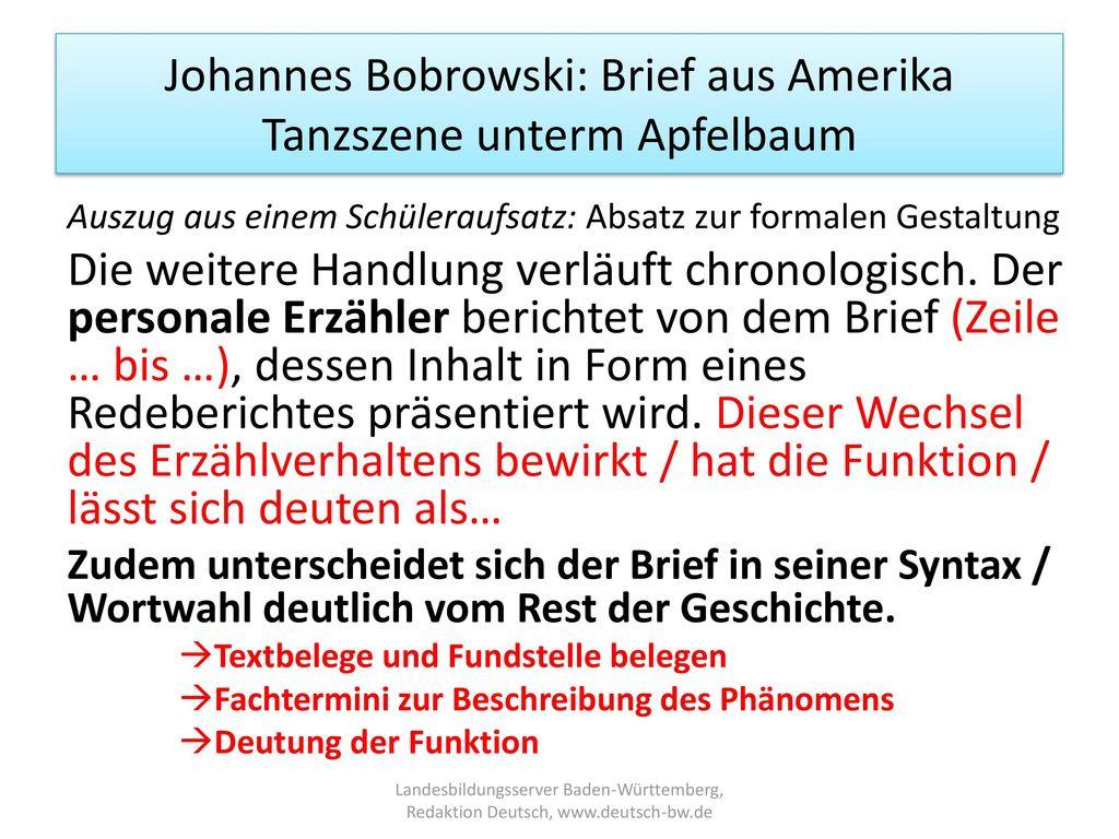 Johannes Bobrowski: Brief aus Amerika Tanzszene unterm Apfelbaum