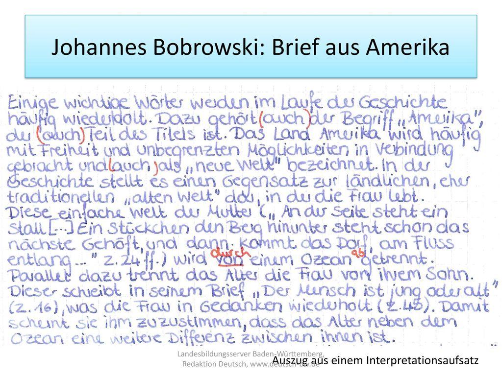 Johannes Bobrowski: Brief aus Amerika