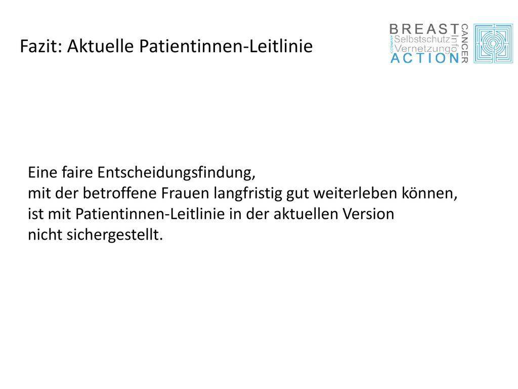 Fazit: Aktuelle Patientinnen-Leitlinie