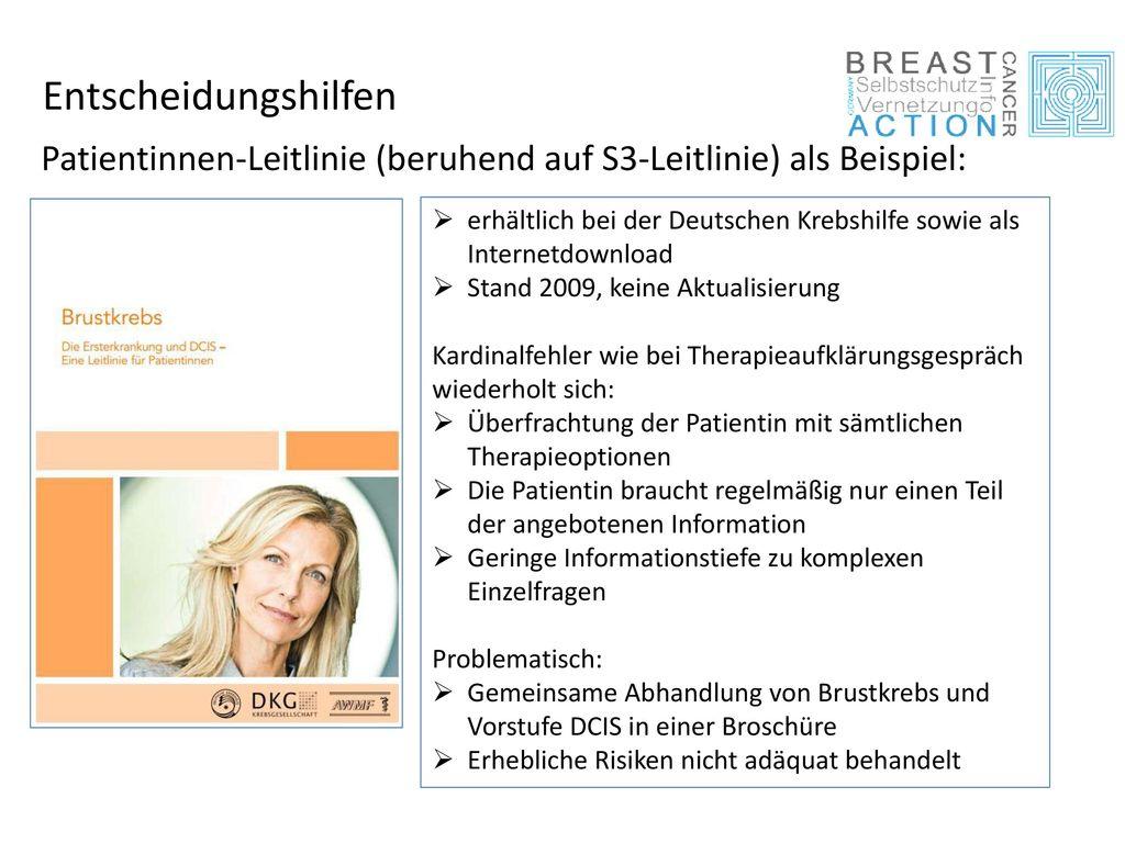 Entscheidungshilfen Patientinnen-Leitlinie (beruhend auf S3-Leitlinie) als Beispiel: