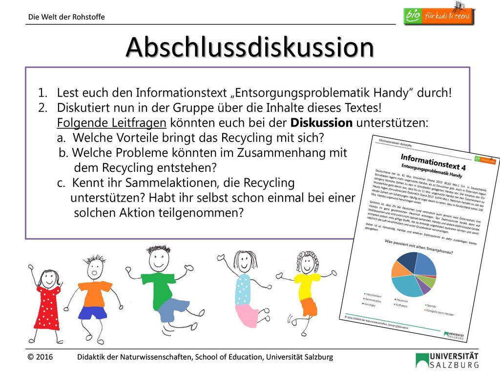 """Abschlussdiskussion 1. Lest euch den Informationstext """"Entsorgungsproblematik Handy durch!"""