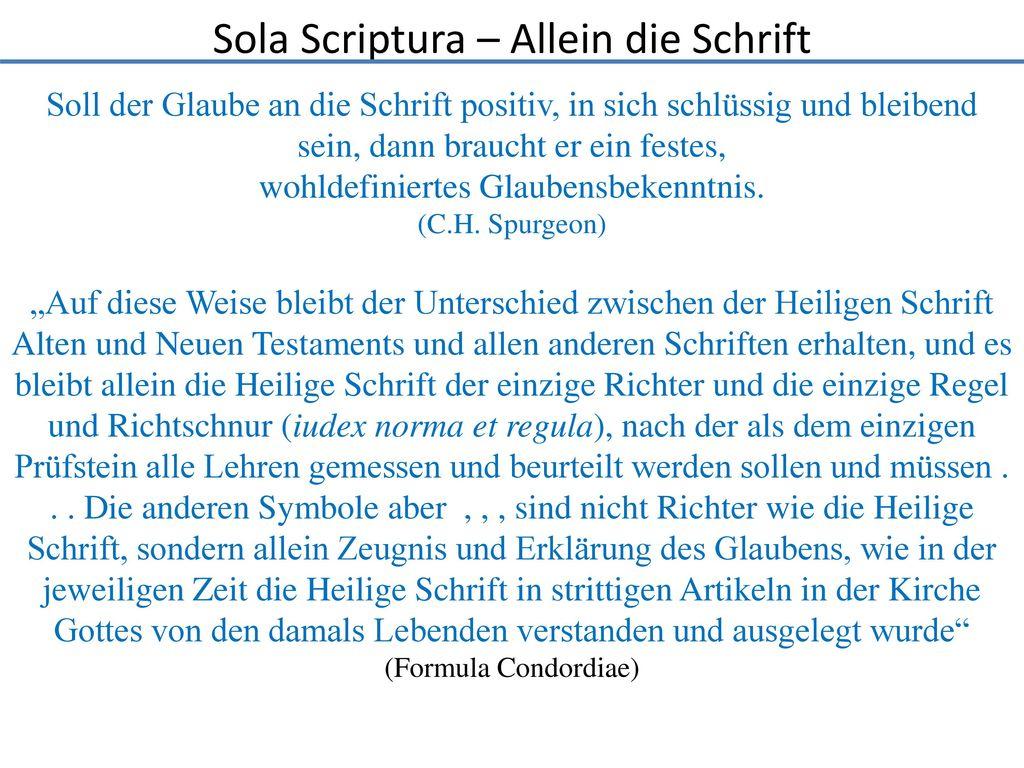 Sola Scriptura – Allein die Schrift