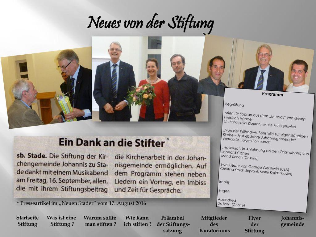 Neues von der Stiftung *