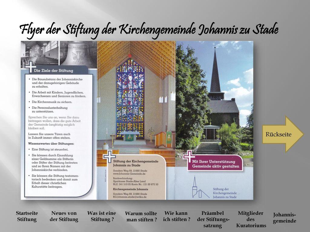 Flyer der Stiftung der Kirchengemeinde Johannis zu Stade