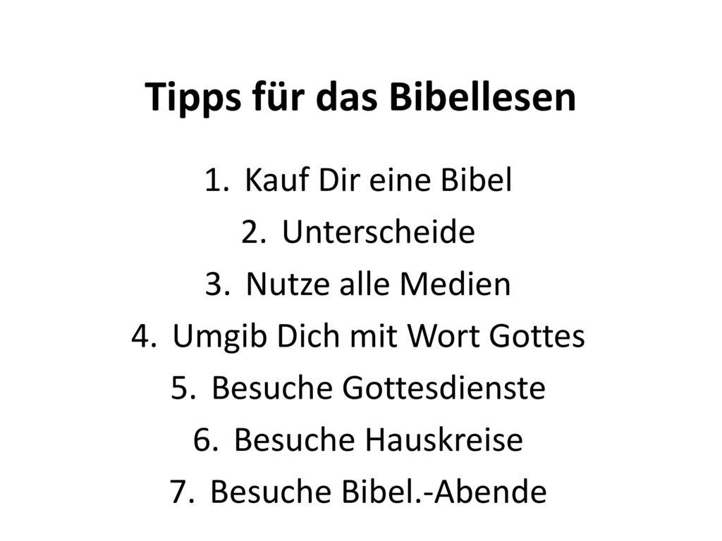 Tipps für das Bibellesen