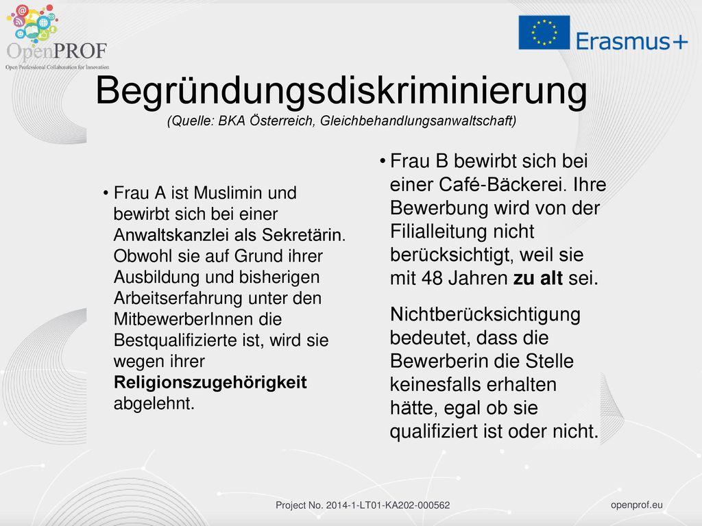 Begründungsdiskriminierung (Quelle: BKA Österreich, Gleichbehandlungsanwaltschaft)