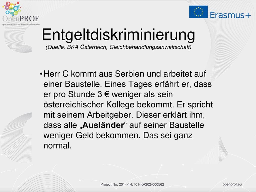 Entgeltdiskriminierung (Quelle: BKA Österreich, Gleichbehandlungsanwaltschaft)