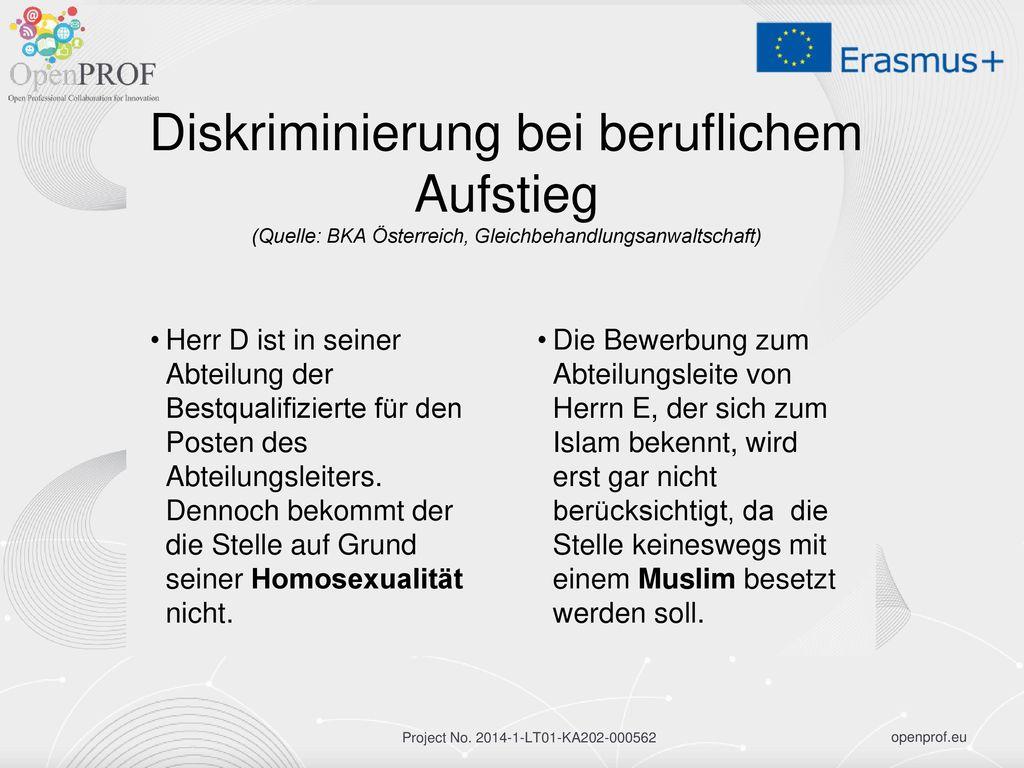 Diskriminierung bei beruflichem Aufstieg (Quelle: BKA Österreich, Gleichbehandlungsanwaltschaft)