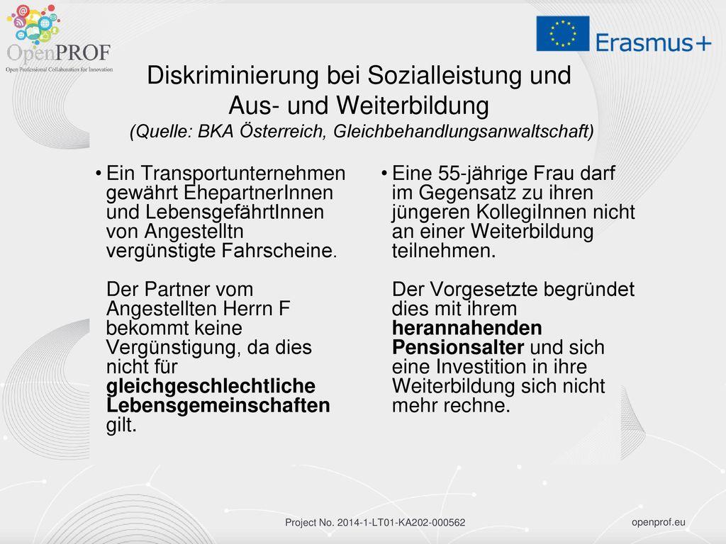 Diskriminierung bei Sozialleistung und Aus- und Weiterbildung (Quelle: BKA Österreich, Gleichbehandlungsanwaltschaft)