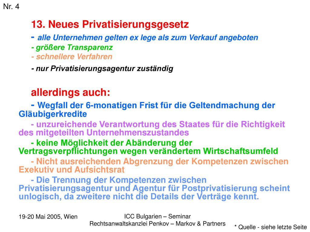 13. Neues Privatisierungsgesetz