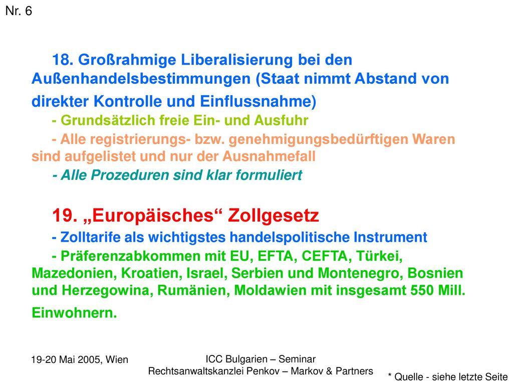 """19. """"Europäisches Zollgesetz"""