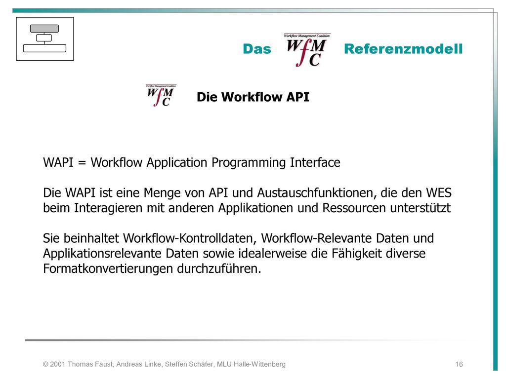 Das Referenzmodell Die Workflow API