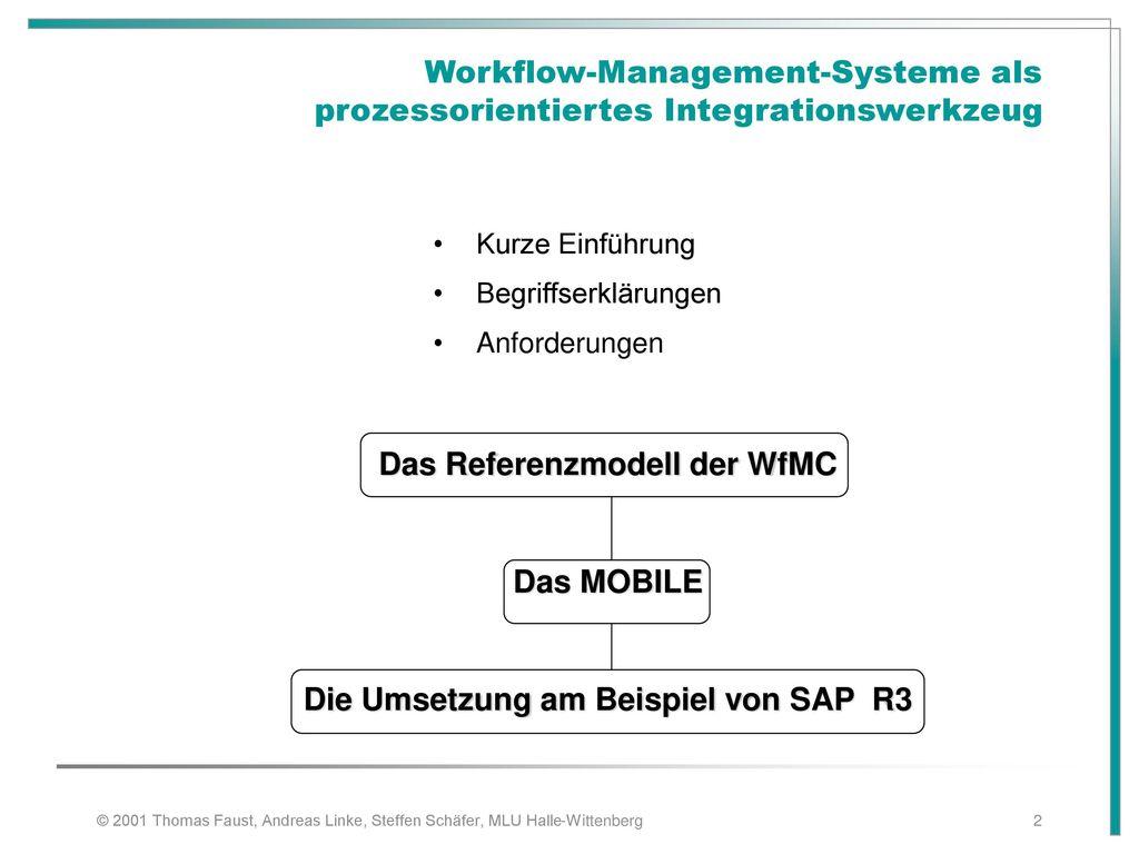 Das Referenzmodell der WfMC Die Umsetzung am Beispiel von SAP R3