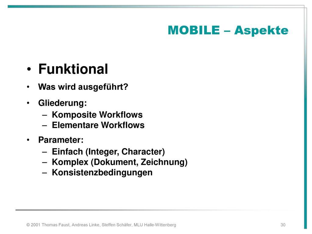Funktional MOBILE – Aspekte Was wird ausgeführt Gliederung: