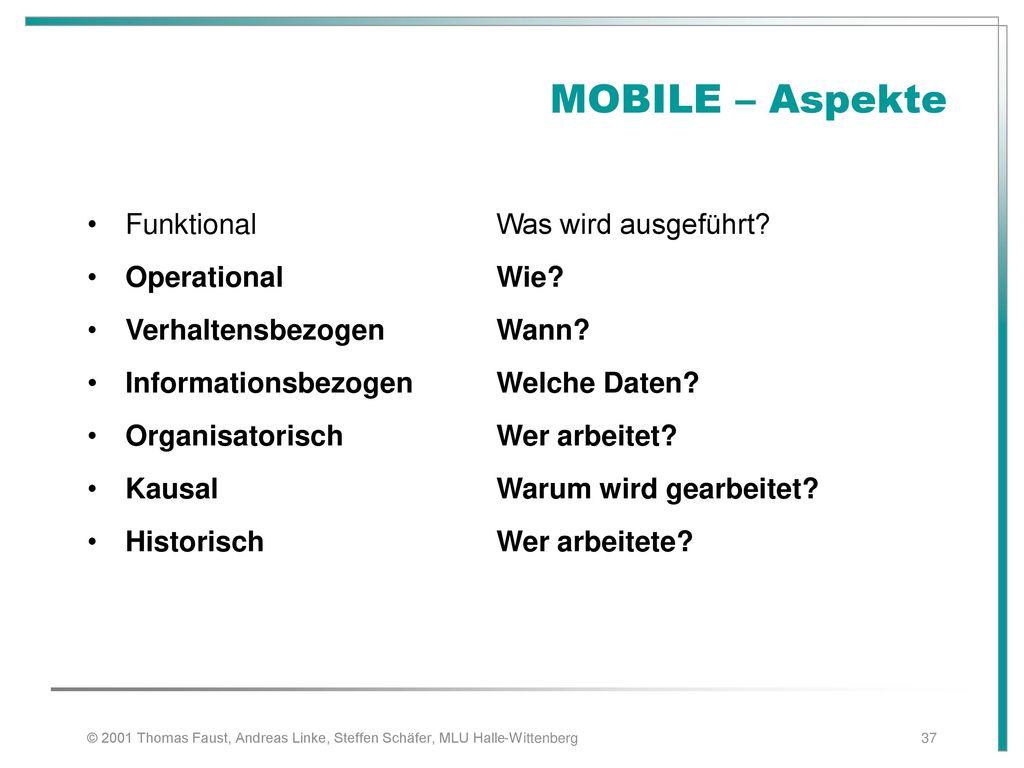 MOBILE – Aspekte Funktional Was wird ausgeführt Operational Wie