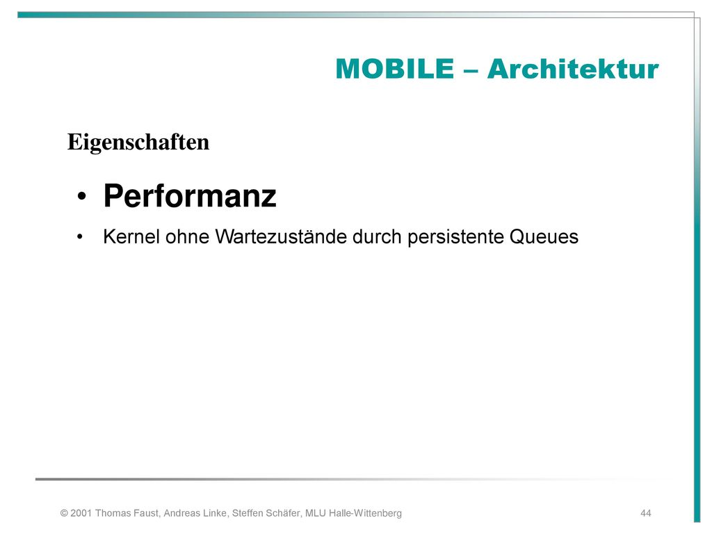 Performanz MOBILE – Architektur Eigenschaften