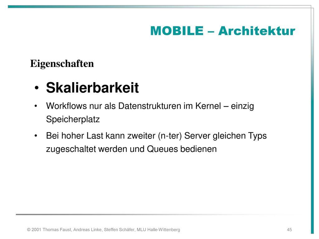 Skalierbarkeit MOBILE – Architektur Eigenschaften
