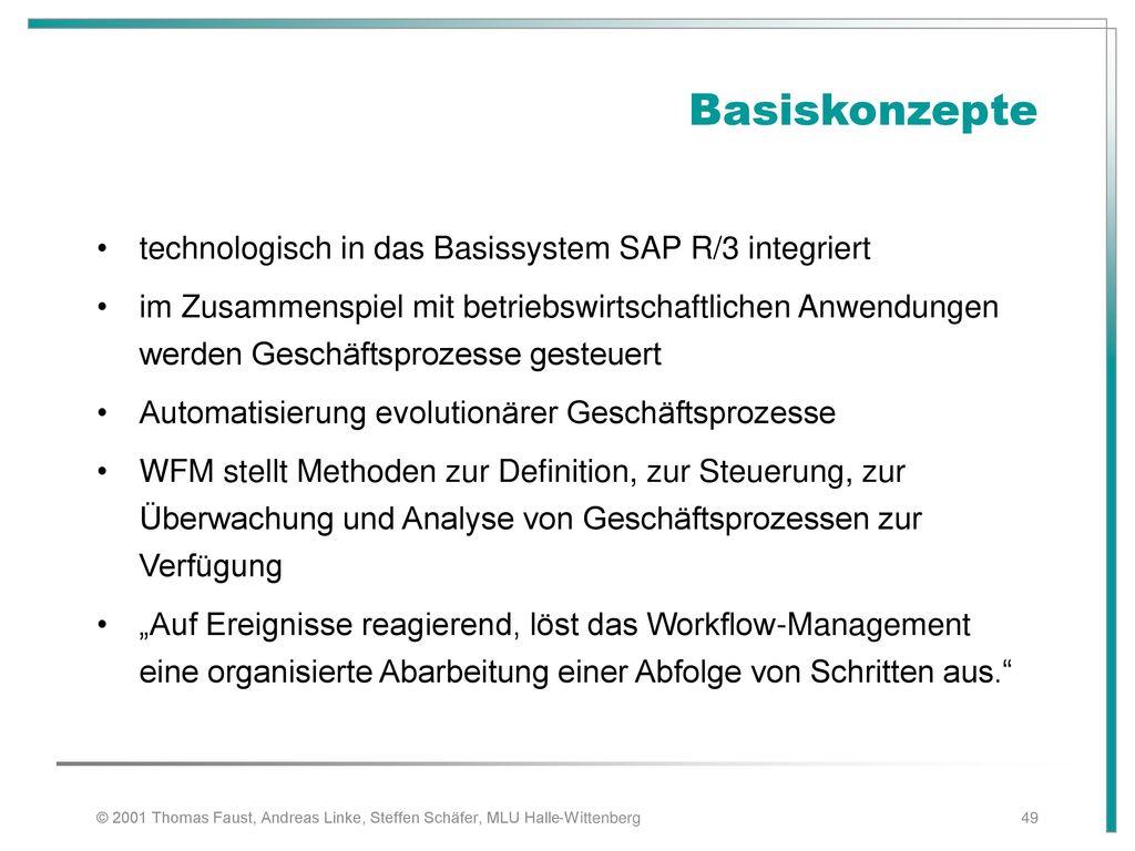 Basiskonzepte technologisch in das Basissystem SAP R/3 integriert
