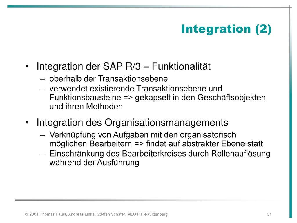 Integration (2) Integration der SAP R/3 – Funktionalität