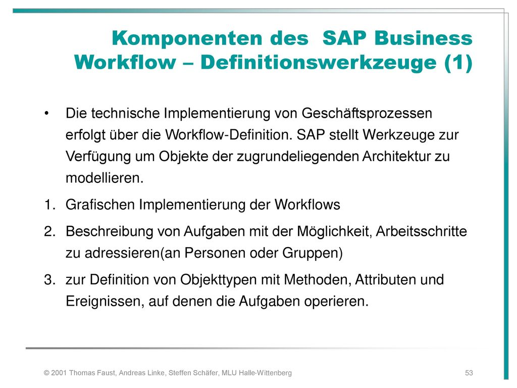 Komponenten des SAP Business Workflow – Definitionswerkzeuge (1)
