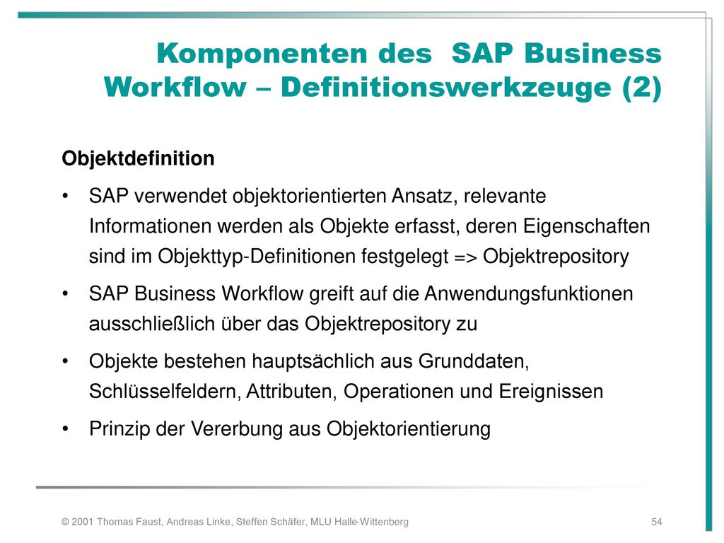 Komponenten des SAP Business Workflow – Definitionswerkzeuge (2)