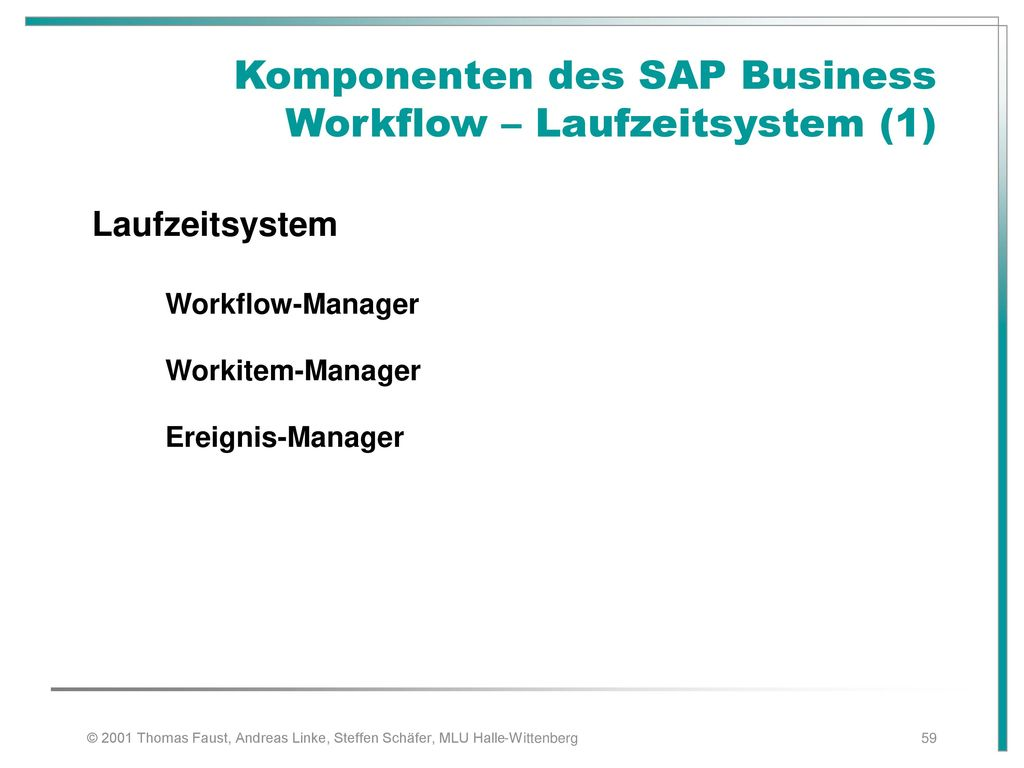 Komponenten des SAP Business Workflow – Laufzeitsystem (1)