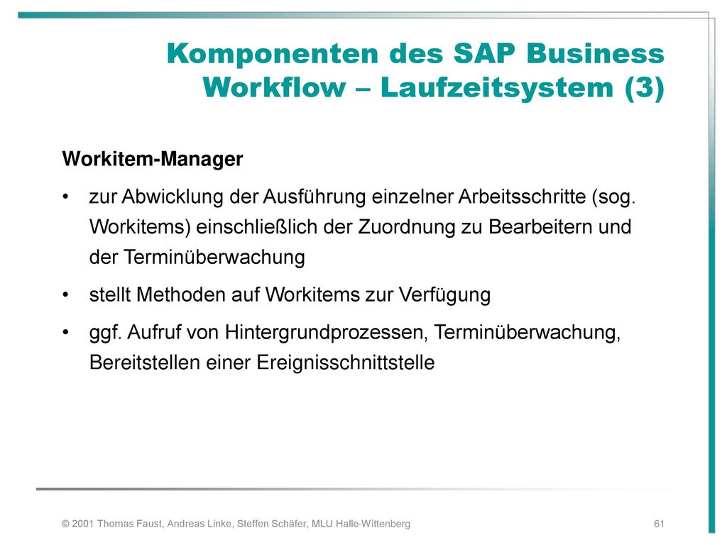 Komponenten des SAP Business Workflow – Laufzeitsystem (3)