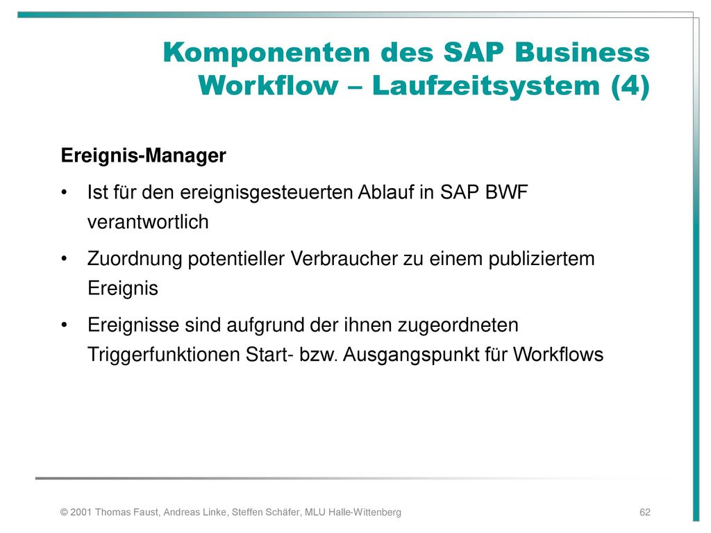 Komponenten des SAP Business Workflow – Laufzeitsystem (4)