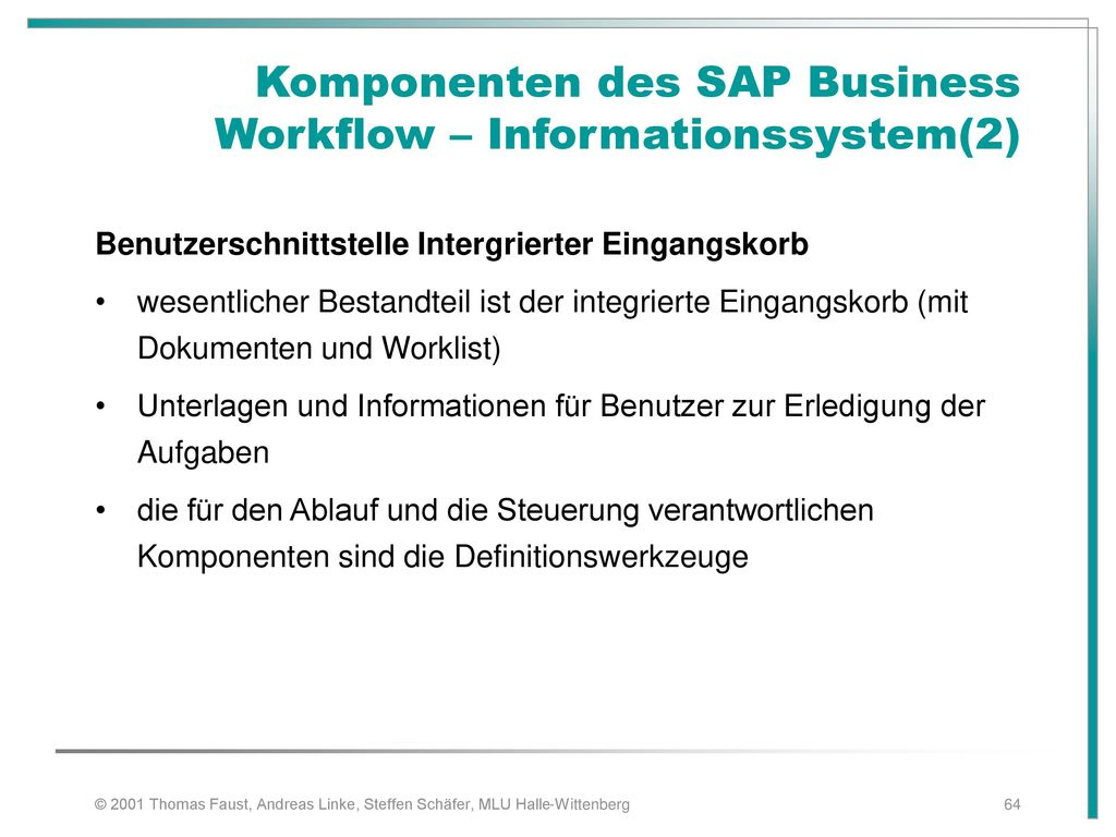 Komponenten des SAP Business Workflow – Informationssystem(2)