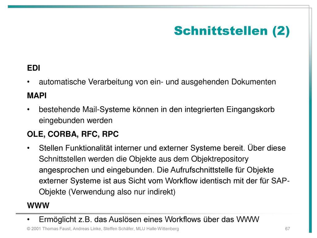 Schnittstellen (2) EDI. automatische Verarbeitung von ein- und ausgehenden Dokumenten. MAPI.