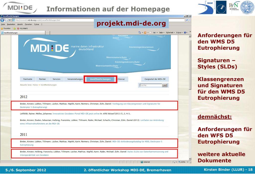 Informationen auf der Homepage