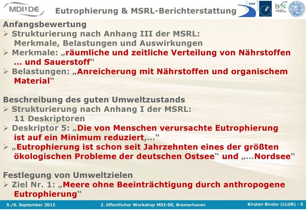 Eutrophierung & MSRL-Berichterstattung