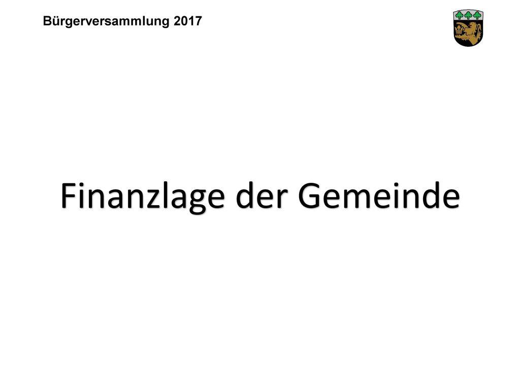 Finanzlage der Gemeinde