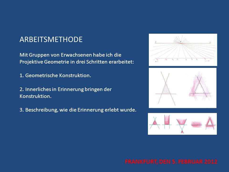 ARBEITSMETHODE Mit Gruppen von Erwachsenen habe ich die Projektive Geometrie in drei Schritten erarbeitet: 1. Geometrische Konstruktion. 2. Innerliches in Erinnerung bringen der Konstruktion. 3. Beschreibung, wie die Erinnerung erlebt wurde.