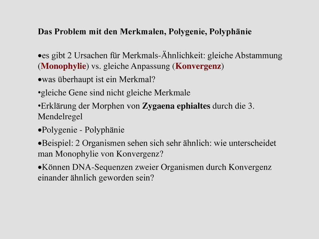 Das Problem mit den Merkmalen, Polygenie, Polyphänie