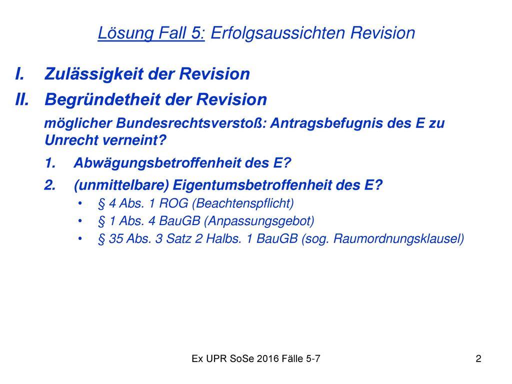 Lösung Fall 5: Erfolgsaussichten Revision