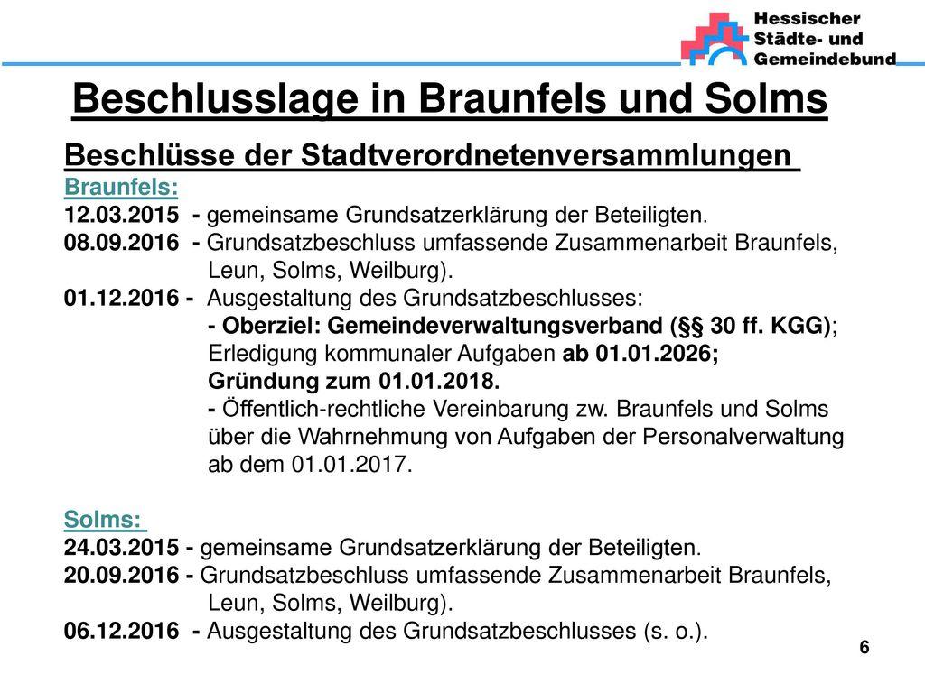 Beschlusslage in Braunfels und Solms
