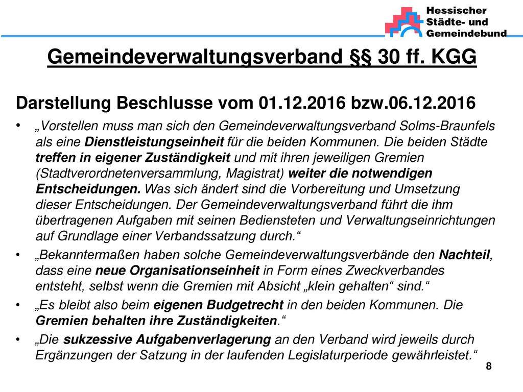 Gemeindeverwaltungsverband §§ 30 ff. KGG