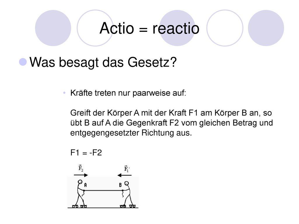 Actio = reactio Was besagt das Gesetz