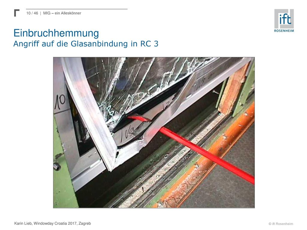 Einbruchhemmung Angriff auf die Glasanbindung in RC 3