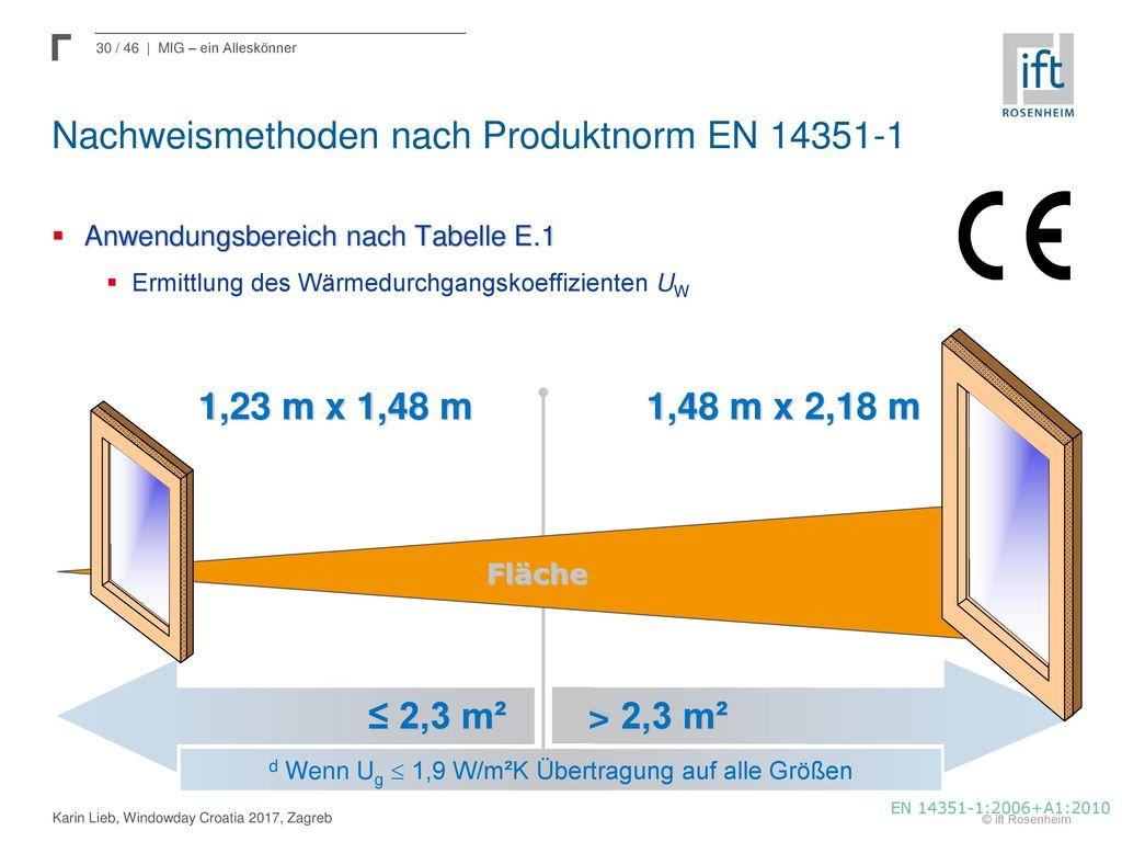 Nachweismethoden nach Produktnorm EN 14351-1