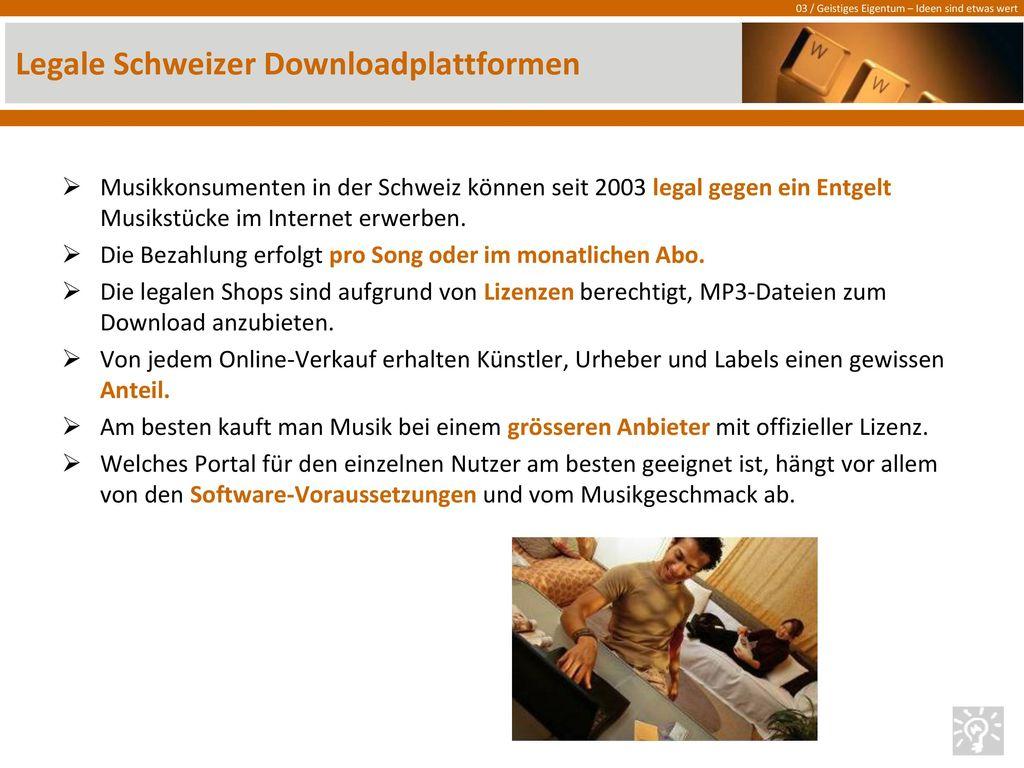 Legale Schweizer Downloadplattformen