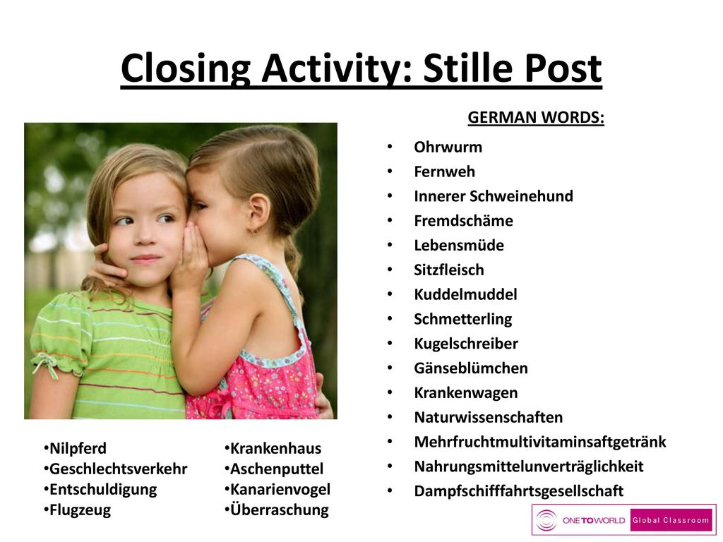 Closing Activity: Stille Post