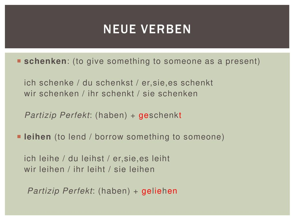 Neue verben schenken: (to give something to someone as a present)